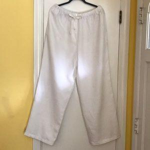 White linen wide leg pants